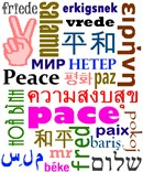 The word peace in 28 languages.