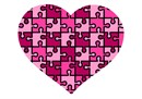 A heart puzzle in shades of pink
