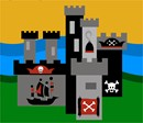 A pirate themed castle on a moat. Stitch this pirate delight for a boy's room decor.