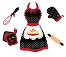 A polka dot kitchen set for your favorite mom or wife.  Oven mitts, rolling pin, and whisk surround the cherry pie themed apron