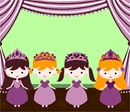 Your princess will be thrilled with this needlepoint that you will stitch exclusively for her! Four princesses on a stage with the curtains open ready to perform.