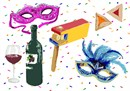 Get in the Purim spirit with a gragger, hamantaschen, wine bottle and glass, and masks galore