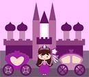 Stitch a princess, a castle, and two purple carriages.  The magic wand adds a magic touch.