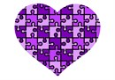 A heart puzzle in shades of purple