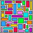 Random rectangles, composed of a solid back outline and bright colorful fills.