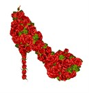 Red roses adorn this high heel shoe