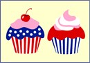Cupcakes in red white and blue. Patriotic cupcakes are delightful to stitch as a summer project. This is fast and easy, and perfect for a beginner.  Celebrate July 4th all summer long.