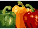 A complement of bell peppers in the three shades of a traffic light.