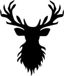 Head of a reindeer complete with antlers. A silhouette (English: /ˌsɪluˈɛt/ SIL-oo-ET, French: [silwɛt]) is the image of a person, animal, object or scene represented as a solid shape of a single color, usually black, with its edges matching the outline of the subject.