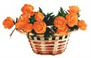 Neat wicker basket of orange roses.