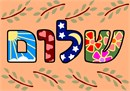 The Hebrew word Shalom, filled in with various patterns.