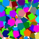 An assortment of colorful shapes in random sizes and positions.