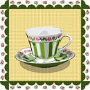 Striped teacup with scalloped border and gingham background.