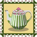 Striped teapot. Scalloped border and gingham background.