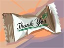 A thank you mint in its wrapper.