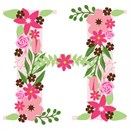 The capital letter H sprouting colorful flowers.