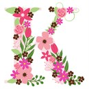 The capital letter K sprouting various floral elements.