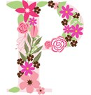 The capital letter P sprouting colorful flowers.