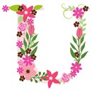 The capital letter U sprouting colorful flowers.