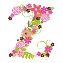 The capital letter Z sprouting colorful flowers.