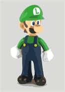 A toy Luigi, looking for his friend Mario.