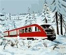 Train Snow Watercolor