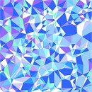 A pleasing arrangement of random triangles in different shades of blue.