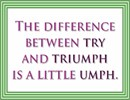 Inspirational message: The difference between try and triumph is a little umph.