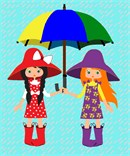 Girlfriends sharing an umbrella.  Whimsical with rain boots and all.