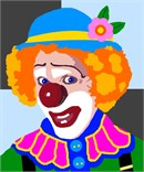 A clown feeling happy and mischievous.