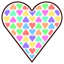 A big heart filled with colorful heart shapes.