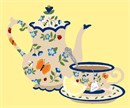 Vintage porcelain teapot and teacup with painted bumblebees, butterflies, ladybugs, and blue flowers