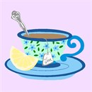 Whimsical teacup with spoon and lemon