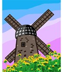 Stately windmill on a spring hillside against a colorful sky.