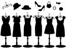 Women's dresses and accessories in silhouette