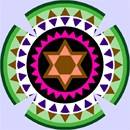 Kippah in vivid contrasting colors in a repeating gear design.