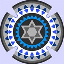 Kippah with gears in shades of grays and blues.