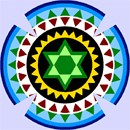 Kippah using a repeating circular pattern in vivid colors.