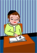 A young Jewish boy sitting at his desk in school points to the place in his workbook.