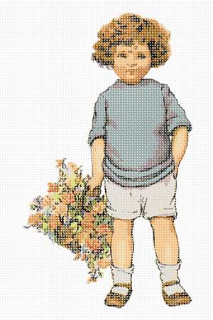 Timmy stands with one hand in his pocket, the other holding a nice flower basket.