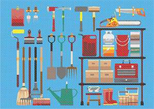 Tool box in needlepoint - everything you need for home improvement