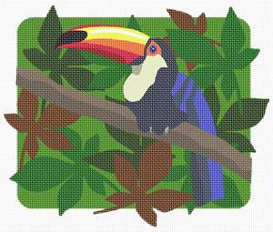 The colorful Toco Toucan, against a leafy patterned background.