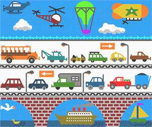 A wide variety of vehicles participate on land, sea and air.  The joys of childhood are depicted in this design. Boats, helicopters, hot air balloons, cars and trucks of every shape and size. A bridge and birds and ducks...