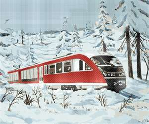 Red train traveling through the snowy countryside