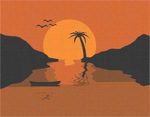 A tropical vacation design simple enough to stitch on your next vacation