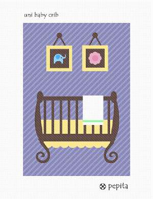 Unisex decor for a baby nursery. Stitch a crib along with two wall hangings of a flower and elephant.