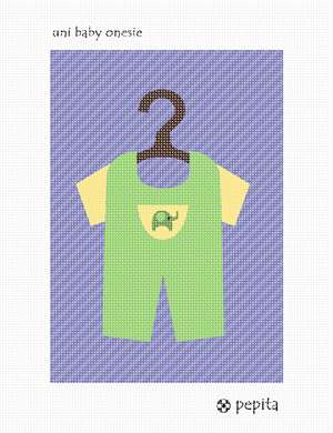 A unisex onesie baby outfit for your baby nursery.  See coordinating unisex baby crib needlepoint.  Don't know if it's a boy or a girl? This is perfect for an expectant mother on bed rest. Relax and stitch away as you prepare something unique for your newborn's arrival.