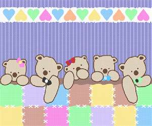 A row of teddy bears all tucked in.  This unisex pattern is ideal for baby rooms, shower gifts, and nurseries.  Now available in a medium size