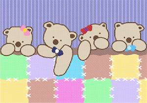 A row of teddy bears all tucked in.  This unisex pattern is ideal for baby rooms, shower gifts, and nurseries.  Now available in a small size.