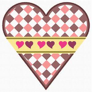 A heart decorated with pink-shaded diamonds, and a yellow ribbon with red heart accents.
